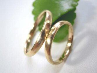 結婚指輪☆ゴールド製 荒仕上げ 甲丸 かわいいハートの画像