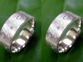 結婚指輪☆プラチナ製 ダイヤ・超幅広・超極太(打ち出し・鎚目)の画像