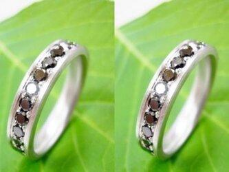 結婚指輪☆プラチナ製 大粒ブラックダイヤ・エタニティ(つや消し)の画像