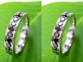 結婚指輪☆プラチナ製 大粒ブラックダイヤ・エタニティ(鏡面磨き)の画像