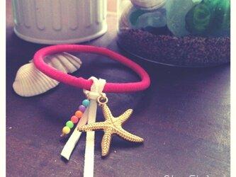StarFish ヘアゴム ブレスレット neonpinkの画像