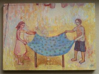 水色のテーブルクロス(原画)[original picture]の画像