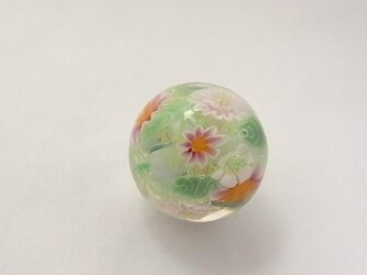 ミルフルール球・ピンク・ガラス製・とんぼ玉の画像