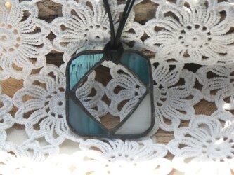 ステンドグラスペンダント&グラスホルダー 青の画像