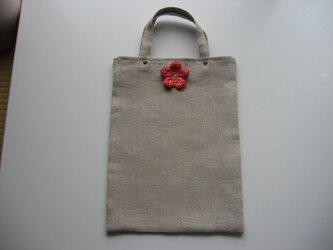 麻のサイドバッグA4サイズの画像
