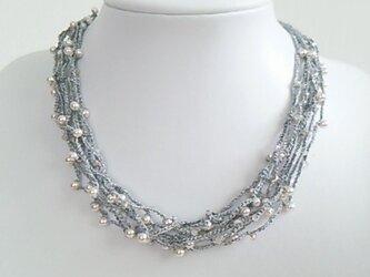 ●sold out●銀ラメ糸 パールネックレスの画像