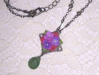 紫陽花のネックレスの画像