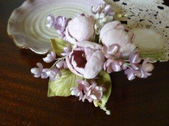 ミニ薔薇とライラックの花束コサージュ*ピンクの画像