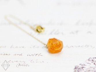 K18◆まるで蜜柑の結晶 スペサルティン原石チェーンピアスの画像