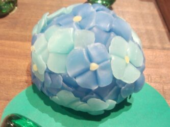LED-あじさいcandle ブルーに藍色の画像