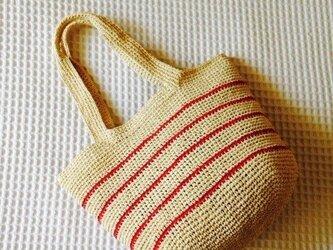 麦わら素材のナチュラルバック(赤ボーダー)の画像