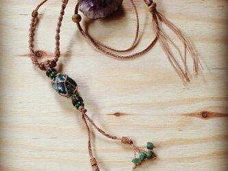 麻 蝋引き ネックレス メノウの画像