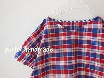 受注生産☆タフタ風 コットンチェックのビッグシャツ 赤の画像
