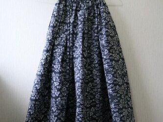 浴衣地 流水に小菊 タックギャザーゴムスカート Fサイズの画像
