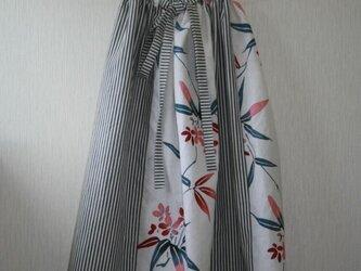 白地夾竹桃 綿麻ストライプ ゴムスカートリボン付き Fサイズ の画像