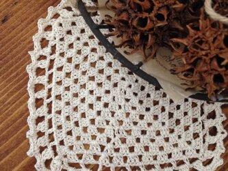 ミニドイリー キナリ  レース編みの画像