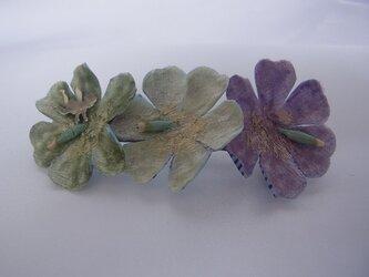 エンジェルと小花のバレッタ(ミントグリーン系)の画像