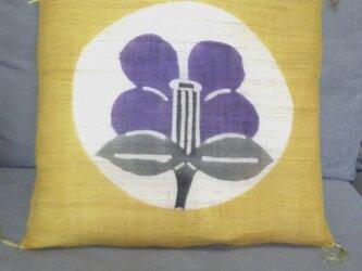 """""""それぞれの麻座布団・クッション(45×45)""""椿の柄で!の画像"""