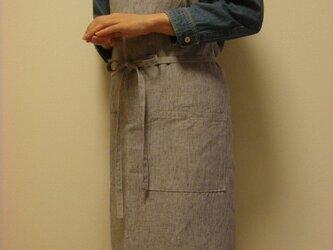 ☆リネン:丈89cm ブルーストライプのエプロン☆の画像