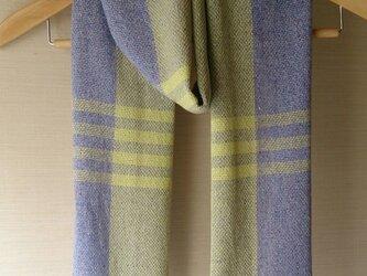 手織り・イエロー/ラベンダーストールの画像
