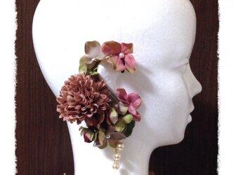 紫陽花とマムのイヤーフックD (アンティークピンク)右耳用の画像