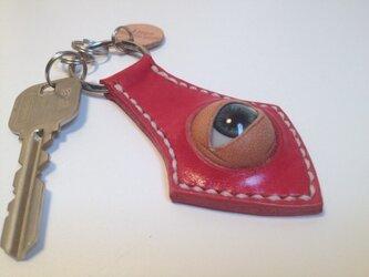 ヌメ革 キーホルダー(赤色)の画像