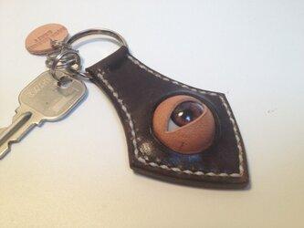 ヌメ革 キーホルダー (焦茶)の画像