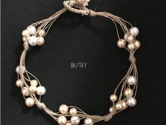 【再販】麻ひもとパールのネックレスの画像