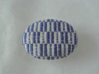 こぎん刺し 帯留め 紺の画像