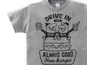 ビーンズマンとハンバーガー 150.160(女性M.L) Tシャツ【受注生産品】の画像