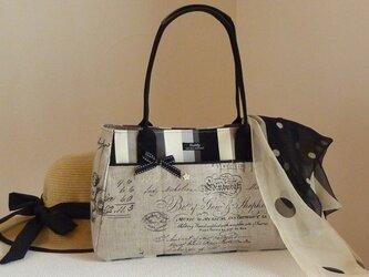 フロントポケットのバッグ(輸入生地リネン英字モノトーン)の画像