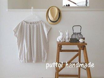 受注生産☆小花柄カットドビーのフレンチプルオーバーシャツの画像