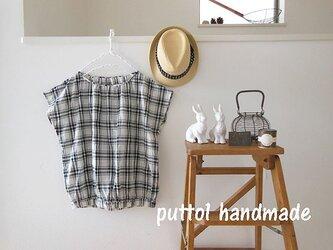 モノトーンチェック♪フレンチプルオーバーシャツの画像