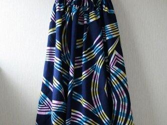 浴衣地 虹模様 ギャザーゴムスカート Fサイズの画像