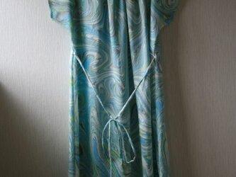 絹 マーブル模様 フレンチスリーブワンピース Mサイズの画像