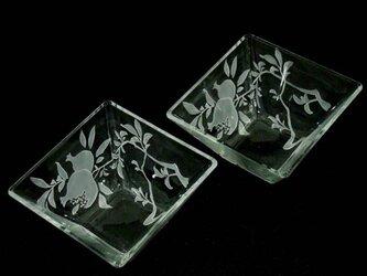 ペア・ザクロ柄透明ガラス角鉢の画像