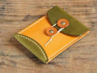玉留めカードケース (グリーン/イエロー)の画像