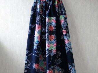 浴衣地 花模様 ゴムギャザースカート Fサイズの画像