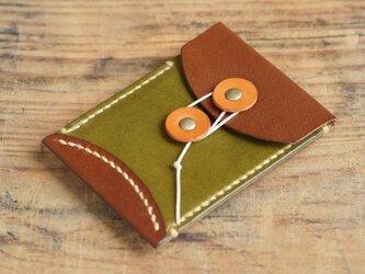 玉留めカードケース (コゲチャ/グリーン)の画像