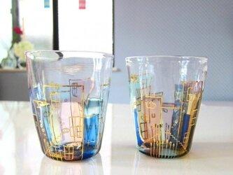 佐川様オーダー:降っても晴れてもの街グラス2種の画像