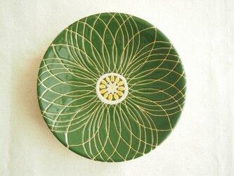 小皿(花)深緑色の画像