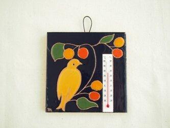 タイル温度計(鳥)濃紺の画像