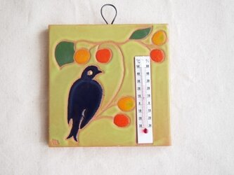 タイル温度計(鳥)黄緑色の画像