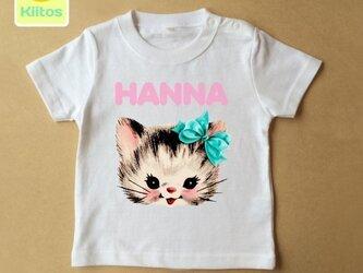 (size70~120)名前入りTシャツ【水色リボンネコ】の画像