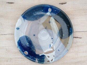コバルトと刷毛目のフラット大皿(壁掛け可)の画像