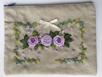 リボン刺繍  ポーチ ROSEの画像