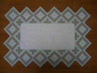 ハーダンガー刺繍・ミント色のテーブルセンターの画像