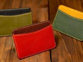 【14色から選んで作る】イタリアンレザー 手縫いのパスケースの画像