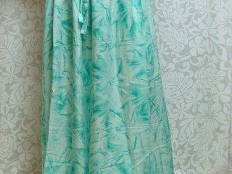 バティックのギャザースカート うす緑の画像