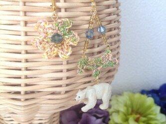 ★SALE★動物とお花の耳飾りシリーズ(シロクマ)の画像